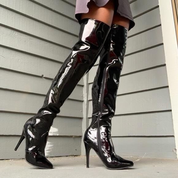 Black Patent Thigh High Boots